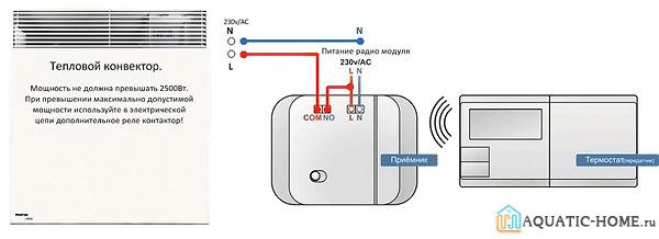 Подключение конвектора в цепь