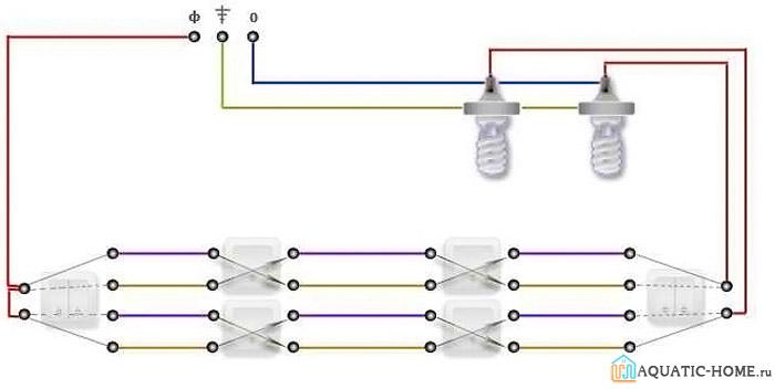 Организация включения двух светильников в независимом режиме