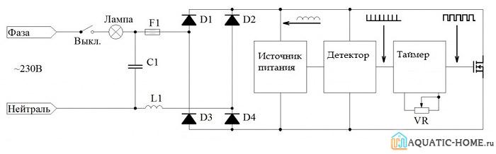 Принципиальная схема и график электрических параметров