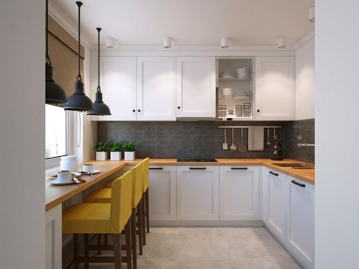 Кухня в скандинавском стиле с использованием освещения на светодиодах
