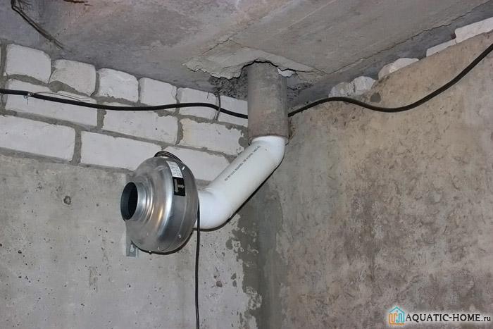 Вентилятор для обеспечения вытяжки из помещения погреба