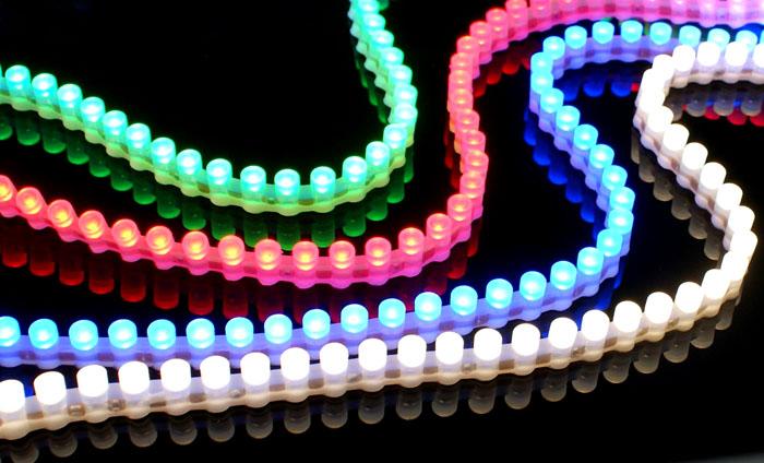 Элементы из светодиодов отличаются разнообразием расцветок