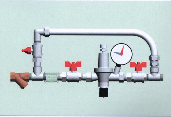 На схемах изображено байпасный узел с воздухоотводчиком
