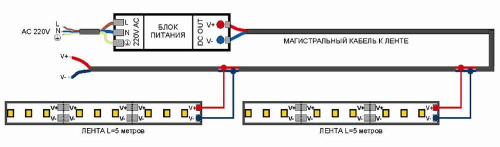 Вариант схемы присоединения светодиодного изделия