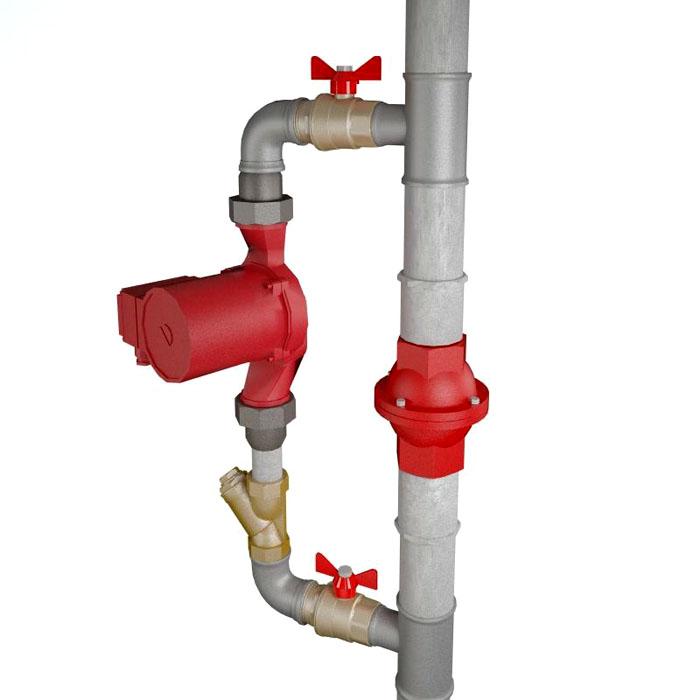 Обратный клапан устанавливается на основном трубопроводе