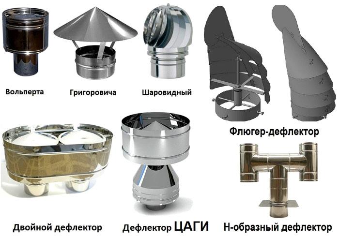 Разные виды дефлекторов, колпаков на трубу дымохода