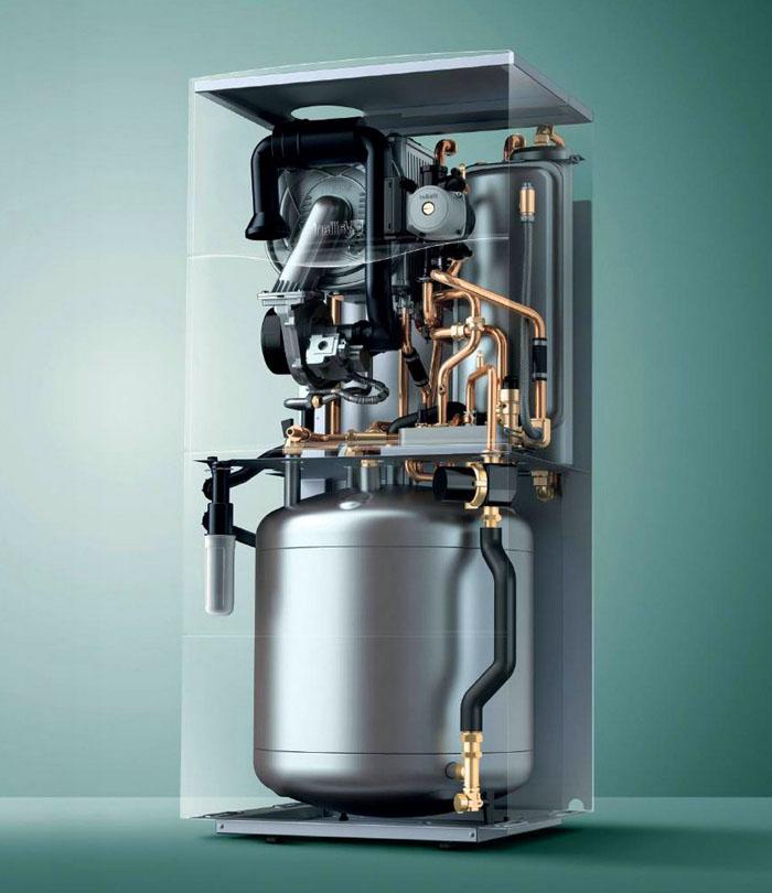 Бойлер, встроенный в котел, пригодится при больших объемах потребления горячей воды