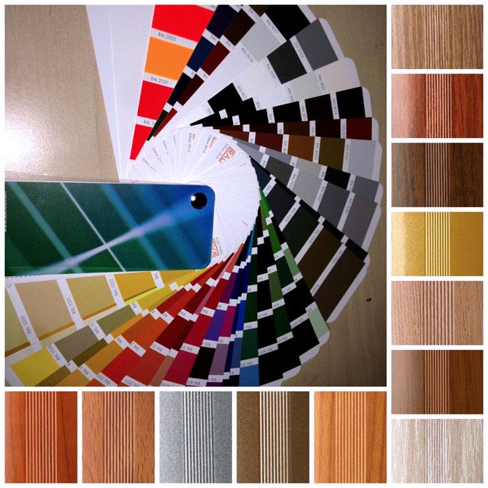 Панели для таких систем создают также с ламинированием «под дерево», окрашивают в разные цвета по палитре RAL