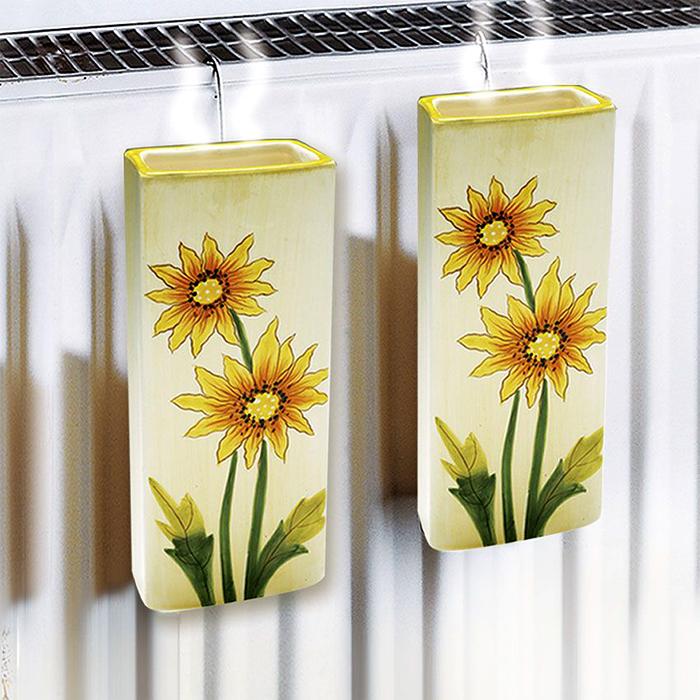 В продаже есть керамические ёмкости для увлажнения воздуха, которые закрепляются на радиаторах отопления