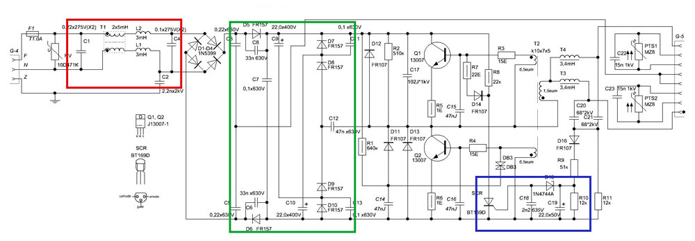 Принципиальная электрическая схема источника питания люминесцентной лампы