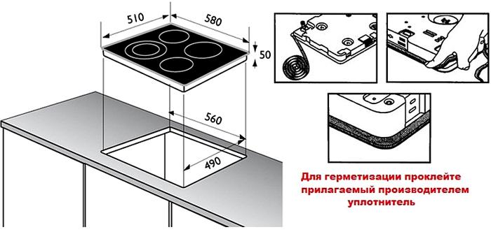 На рисунке показан вариант монтажа конструкции в столешницу
