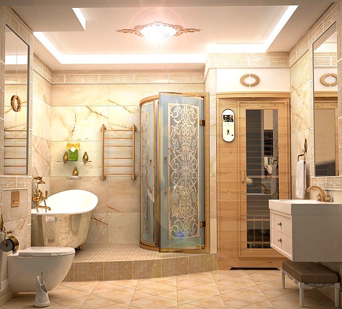 Вариант для большой ванной комнаты