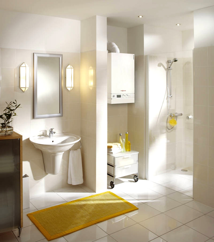 Современная ванная комната с газовым котлом