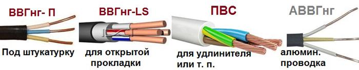 Варианты кабеля для разных назначений
