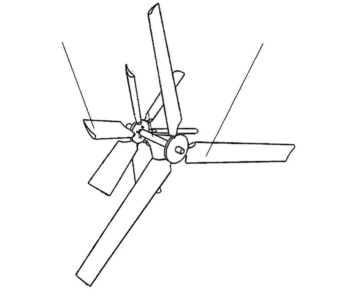 Чертеж направления лопастей вертикального устройства