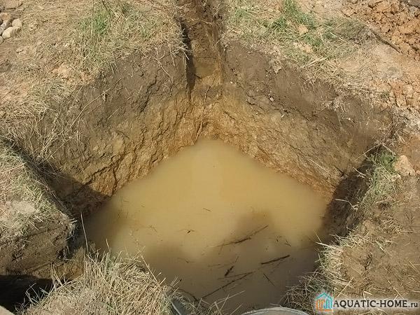 Вода расположена над слоем глины
