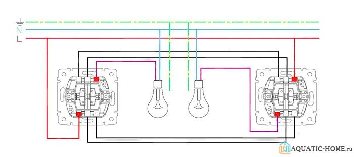 Управление двух ламп