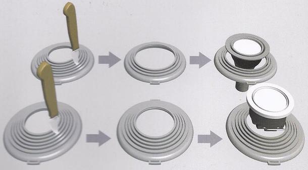 Универсальное монтажное кольцо фиксации светильников для натяжных потолков можно приобрести отдельно