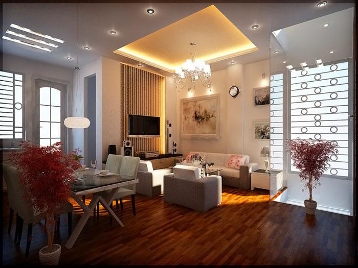 Комбинированное использование точечных источников света и традиционных люстр с системой управления, позволяющей кардинально менять визуальное восприятие интерьера
