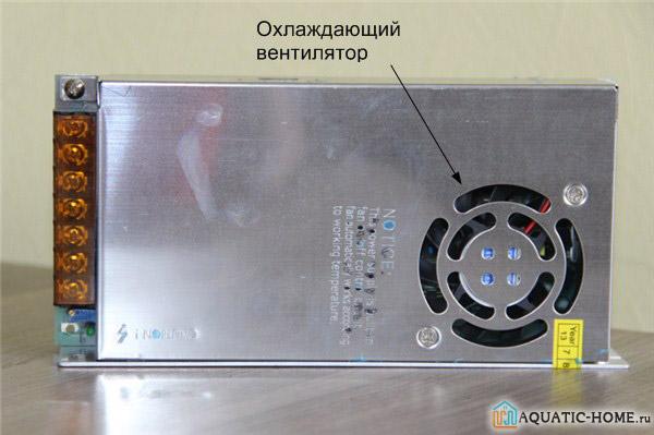 Вентилятор встроен непосредственно в корпус блока