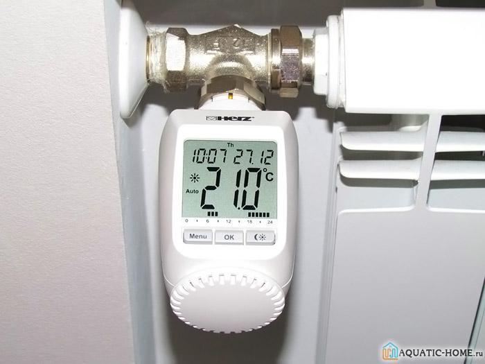 Продукция электронного типа установлена на радиаторе отопления