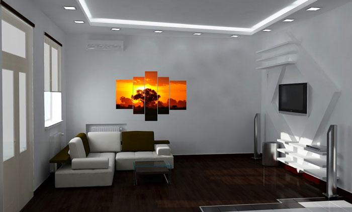 Классический интерьер с соответствующими ему элементами и аксессуарами освещенный диодными приборами