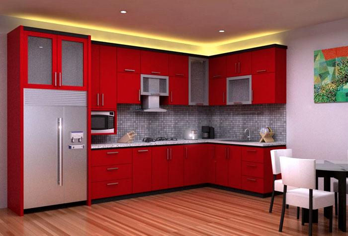 Отражающаяся от потолка подсветка для кухни над шкафами. В этот варианте исключено прямое попадание воды