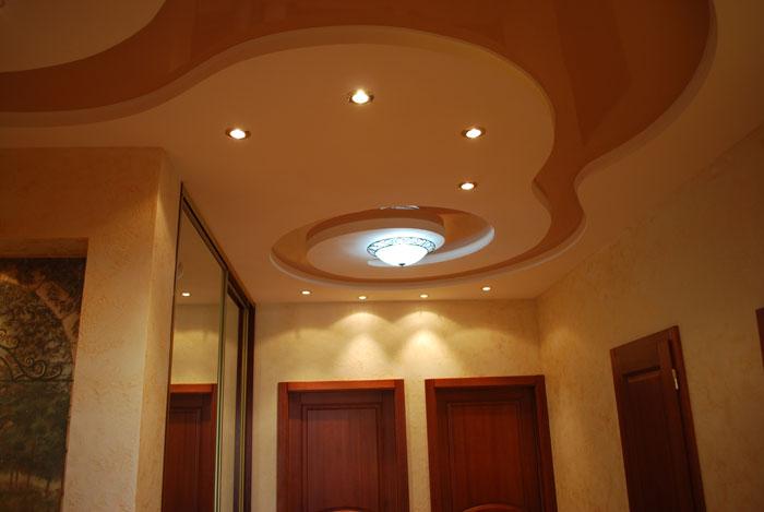 Подсветка многоуровневого натяжного потолка