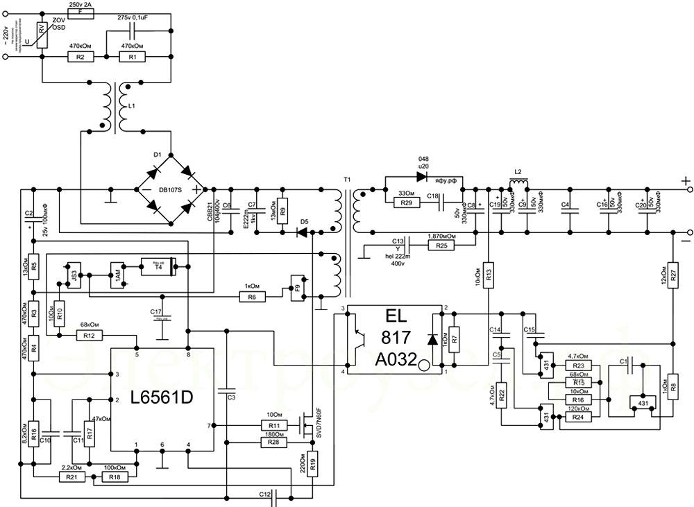 Принципиальная схема источника питания и управления современной светодиодной лампы