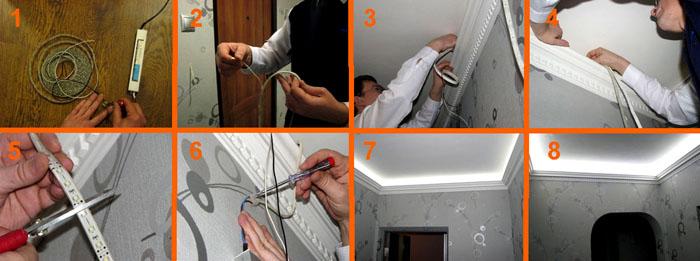 Этапы монтажа конструкции на потолок