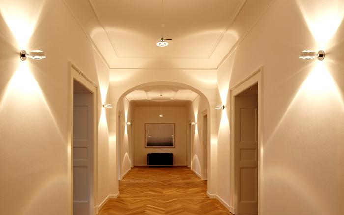 С помощью светильников можно изменить геометрию помещения
