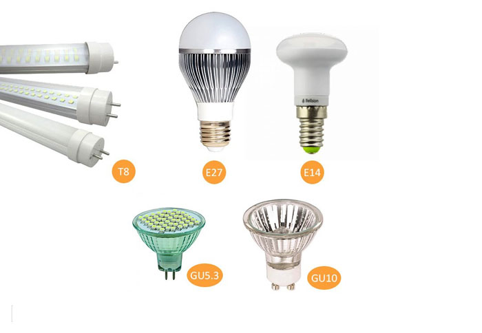 Светодиодные лампы для дома с цоколями разных видов