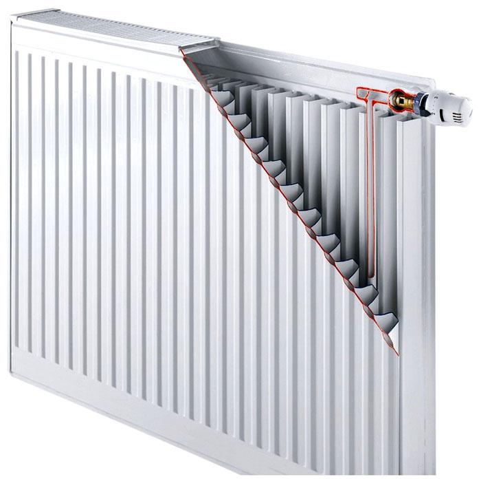 Типичный стальной радиатор в разрезе