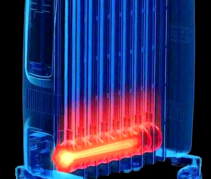 Нагревательный элемент устанавливается в нижней части корпуса. Он погружен в масло, хорошо защищен от внешних воздействий
