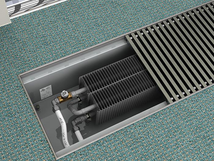 В таком варианте установки нагревательные элементы замаскированы хорошо. Но охлажденный воздух поступает к ним недостаточно интенсивно