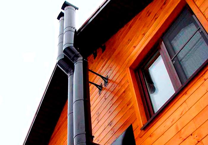 Установка дымохода для открытой камеры горения