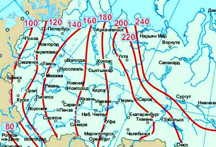 Карта схема определения уровня промерзания грунта в зависимости от климатических условий в определенном районе